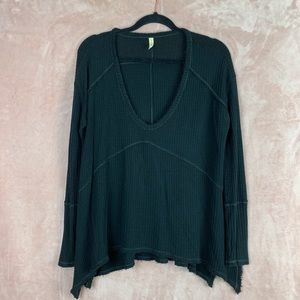 Free People Long Sleeve High Low Raw Hem Top